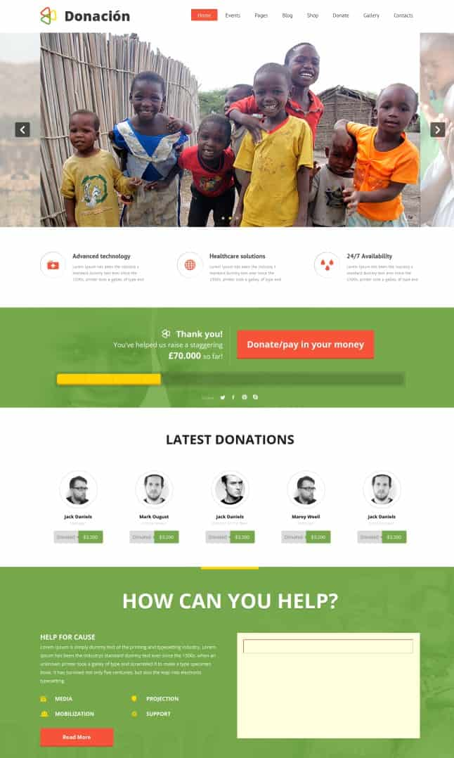 donation - charity wordpress themes