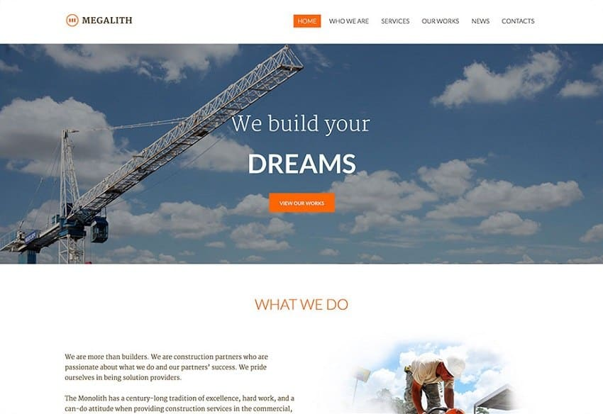 megalith construction wordpress theme