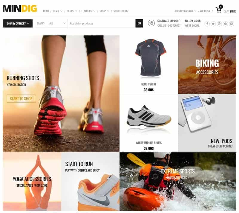 Mindig WordPress Theme for ecommerce