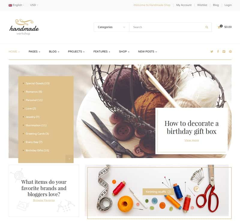 ecommerce theme for handmade shops