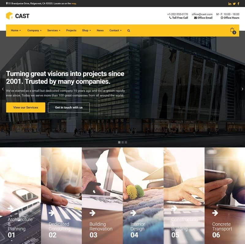 Cast Construction & Building Theme for WordPress