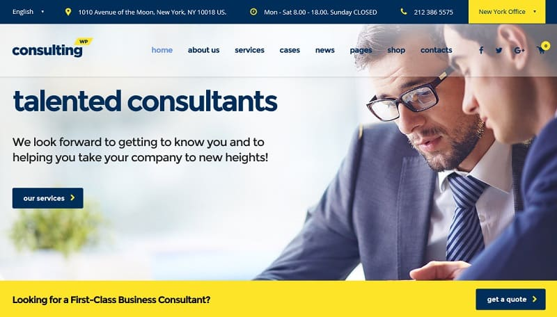 55 best business wordpress themes of 2018 updated business theme for consultants wajeb Image collections