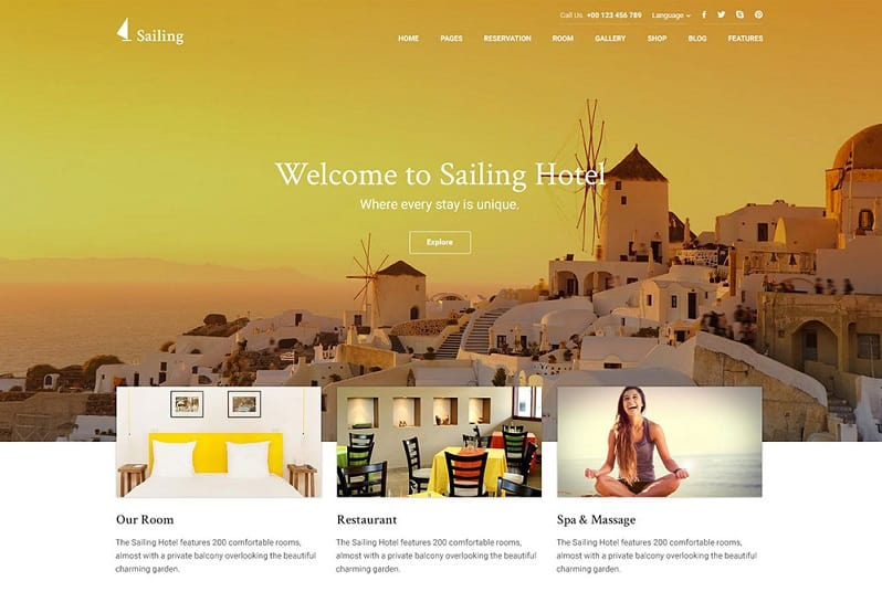 sailing hotel wp theme