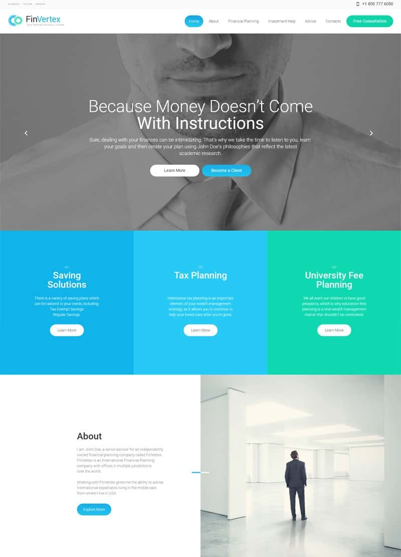 FinVortex Business Corporate WordPress Theme