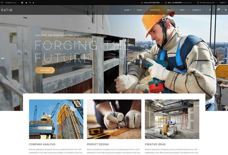 ratio construction wordpress theme