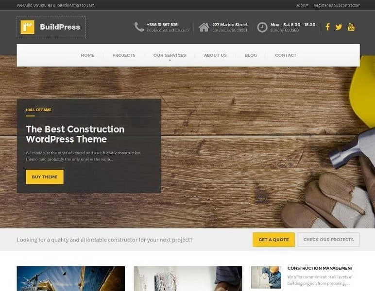 buildpress - construction wordpress theme