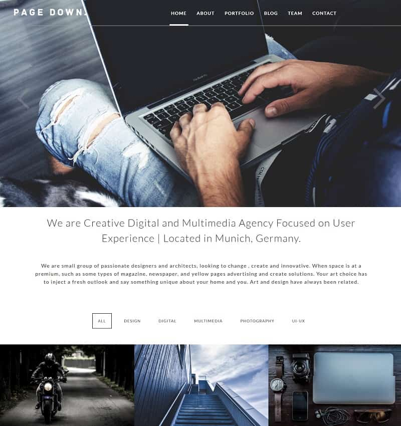 Page Down WordPress Theme