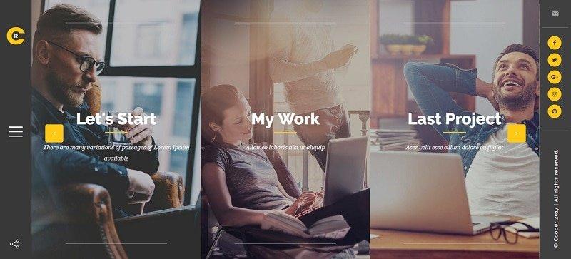 cooper personal portfolio wordpress theme