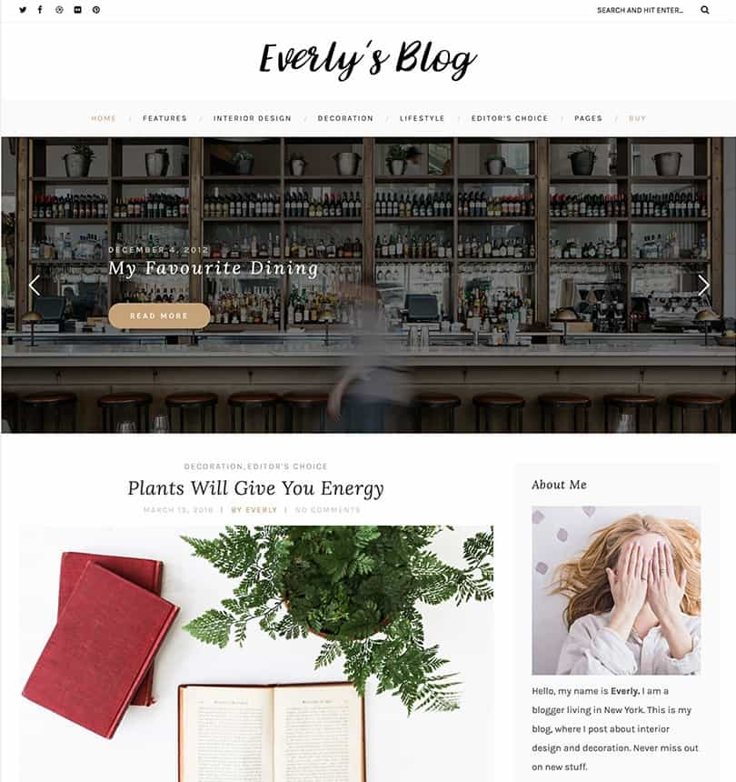 everly simple blog theme
