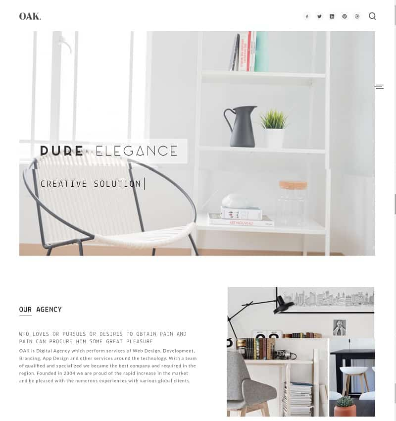 oak - simple agency wordpress theme