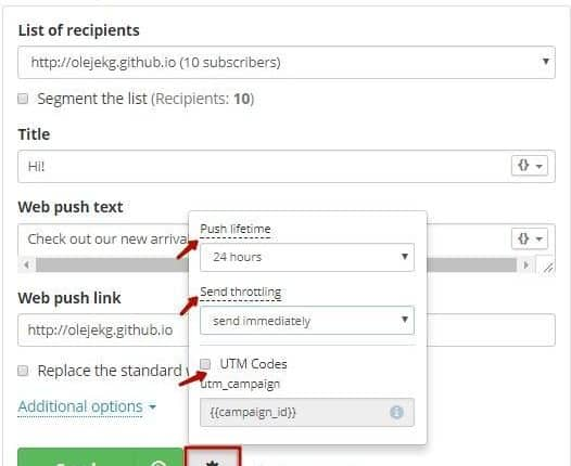 send a push notification - webCREATE