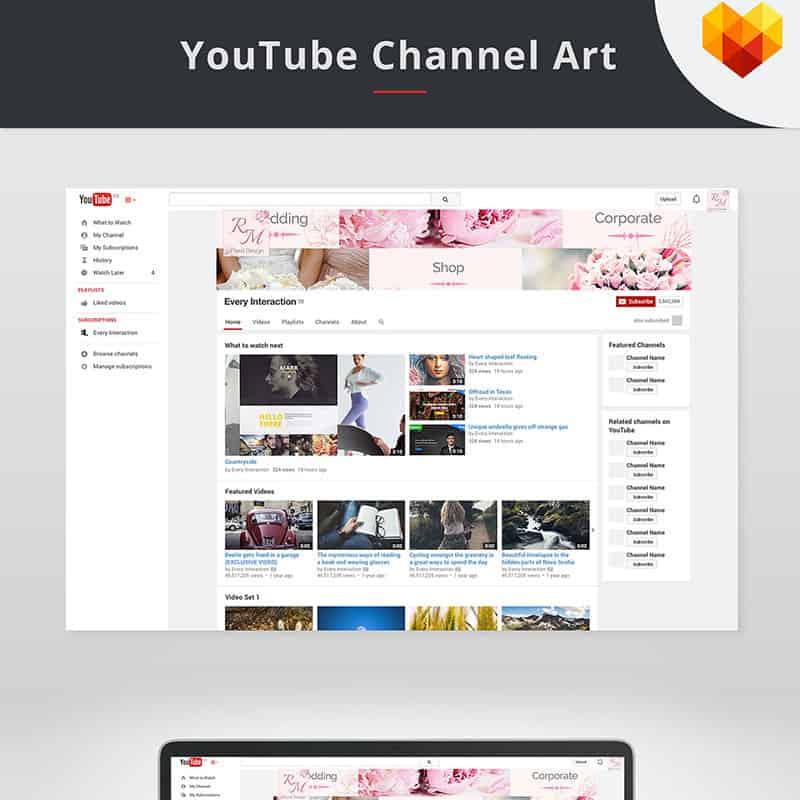 YouTube Cover Template for Floral Designer Social Media