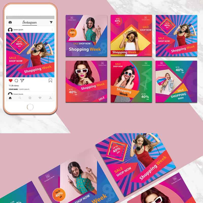 Colorful Instagram Banner Pack Social Media